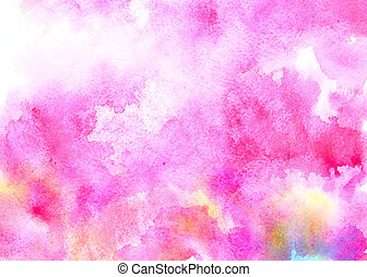 Pink watercolor background with colorful stains
