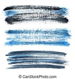 Blue grunge brush strokes - Set of blue grunge brush strokes...