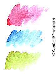 Brush strokes of different colours - Set of watercolor brush...