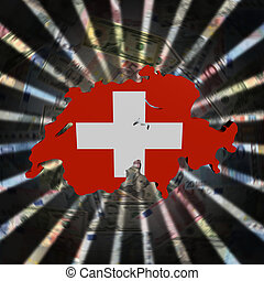 Switzerland map flag on currency burst illustration