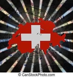 Switzerland map flag on currency burst illustration