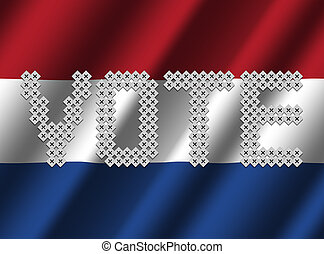 Vote text on rippled Dutch flag illustration