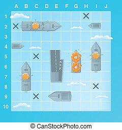 Sea battle game elements with effects. Cartoon illustration