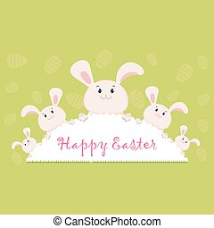 happy easter bunny green - Easter card egg rabbit. Lovely...