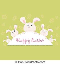 happy easter bunny green - Easter card egg rabbit. Lovely...