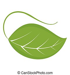 gree leaf icon - Flat vector cartoon illustration. Objects...