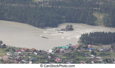 Aerial view of village in Altai mountains