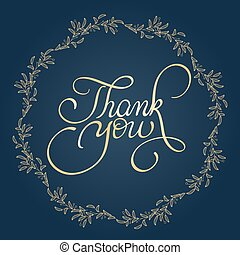 Thank you text with round frame on background. Calligraphy...