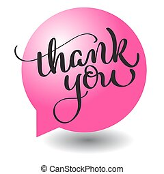 Thank you text with round red ball frame on background. Hand...