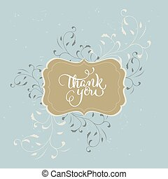 Thank you text beautiful vintage frame on background....