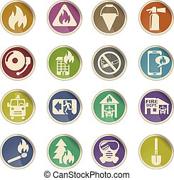 fire brigade icon set - fire brigade web icons on color...