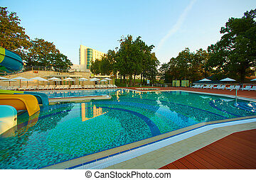 The luxury pool at 5 star hotel. Summer morning