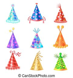 Set of Different Festive Caps in Cartoon Style