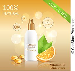 Natural Cream with Vitamin C Vector Illustration - Natural...