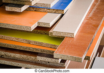 Multicolored Chipboard panels