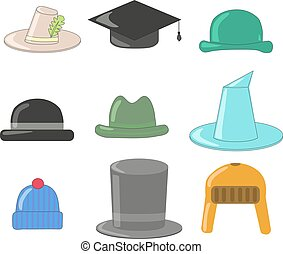 Cartoon hats collection. Hats and bowlers collection, with wizard hat