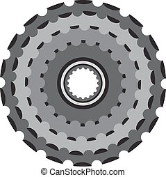Bike metallic cogwheel, bicycle crankset cassette in flat style.
