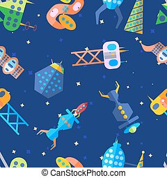 Bright extraterrestrial future city pattern in cartoon flat vector style.