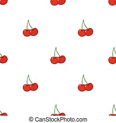 Cherry seamless pattern. Ripe, sweet, tasty berries. Juicy vegetarian nutrition