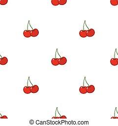 Cherry seamless pattern. Ripe, sweet, tasty berries. Juicy vegetarian nutrition