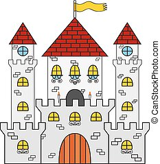 Castle icon. Made in cartoon flat style. Medieval concept.
