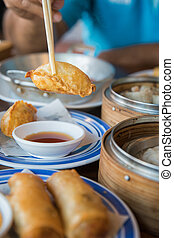 Gyoza dim sum set, chinese food and japanese food in...