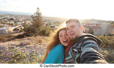 Self portrait, happy couple traveling - Close up self...