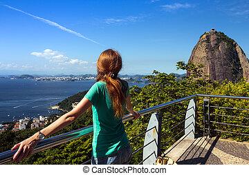 girl at Pao de Acucar - girl tourist on Pao de Acucar...