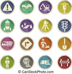 road repairs icon set - road repairs web icons on color...