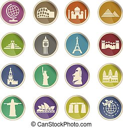 travel and wonders icon set - travel and wonders web icons...