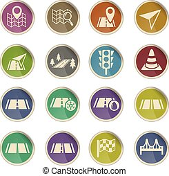 road icon set - road web icons on color paper labels
