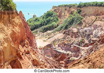 Canyon of cliffs with many stones sedimented by time, rocks...