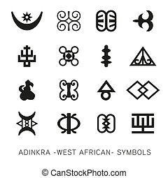 Set of akan and adinkra -west african- symbols