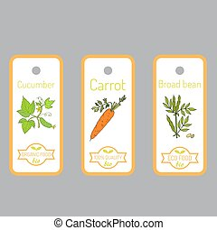Set of vector labels with hand drawn vegetables