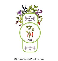 Vintage herbs and spices label collection. Cayenne pepper...