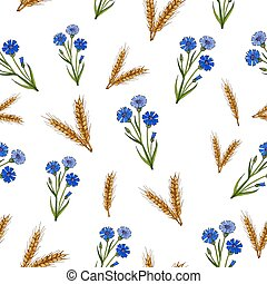 Seamless pattern with cornflowers and ears