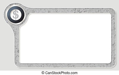 Vector frame for your text with marble pattern and dollar...