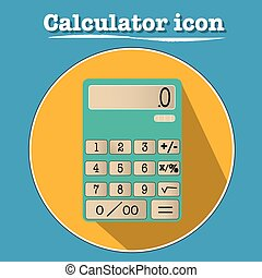 Classic calculator icon illustration in flat design with 3D look. Shadow, number pad, vector.