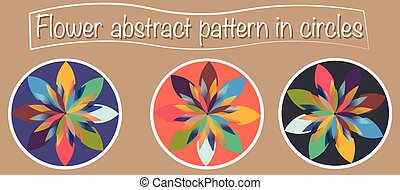 3 Types of abstract flower design with multiple and colourful petals. Logo, web, or icon use. Vector illustration, flat design, minimalistic representation. Every flower is inside a round circle