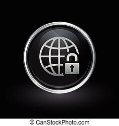 Globe and padlock icon inside round silver and black emblem...
