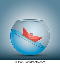 limited - Abstract idea as a red paper origami boat float in...