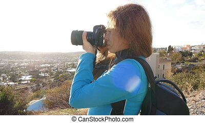 Travel photographer taking pictures