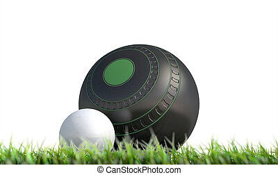 Lawn Bowl And Jack - A wooden lawn bowling ball next to a...