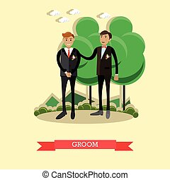 Vector Illustration of Groom in flat style - Vector...