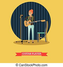 Vector illustration of guitar player in flat style