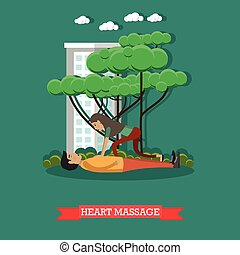 Heart massage vector illustration in flat style - Vector...