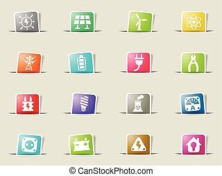 electricity icon set - electricity web icons on color paper...