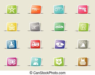 police icon set - police web icons on color paper bookmarks