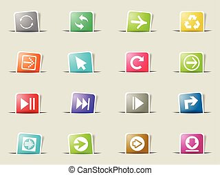 arrow icon set - arrow web icons on color paper bookmarks