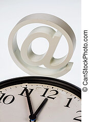 """email sign and clock - a watch which """"11:55"""" shows and an..."""